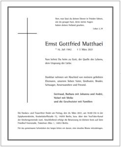 Trauerkarte Gottfried Matthaei